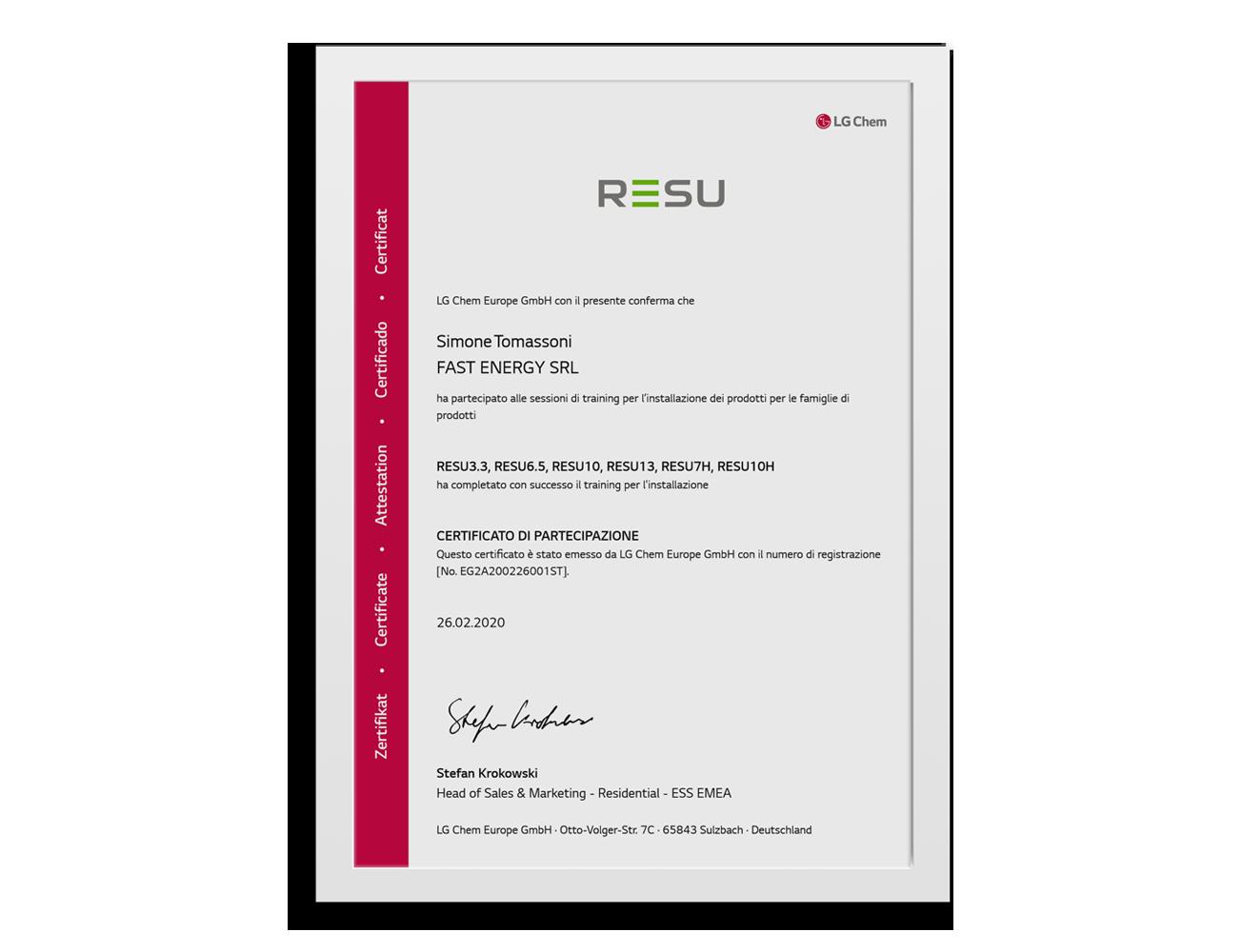 Installatore-Certificato-LG